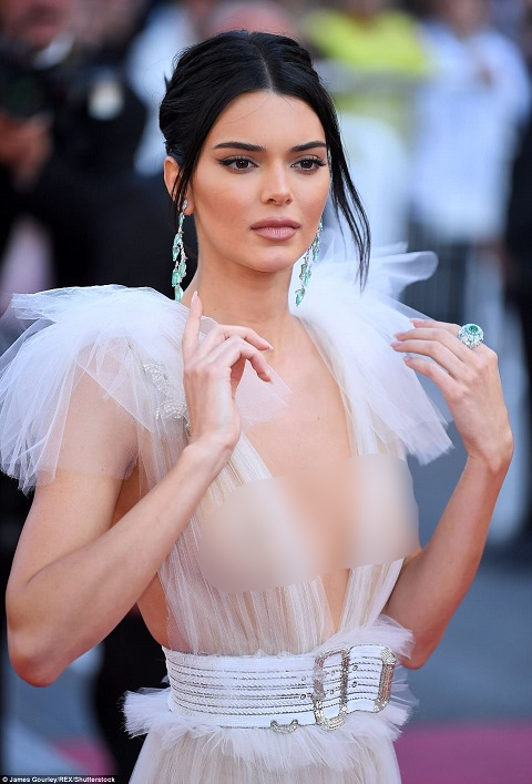 3448321fdea CAPTION: Kendall Jenner's Braless Appearance in See-Through Dresses at  Cannes Film Festival: Shows Nipples SOURCE: Dailymail