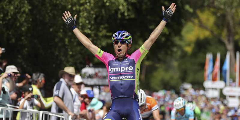 Italian road bicycle racer Diego Ulissi wins stage 11 as he outsprints Jungels and Andrey Amador