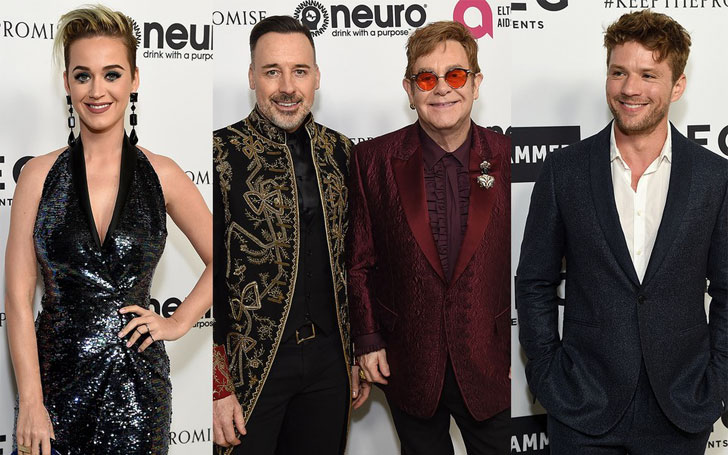 Elton John Celebrates his 70th Birthday with Katy Perry, Lady Gaga, Rob Lowe and David Furnish