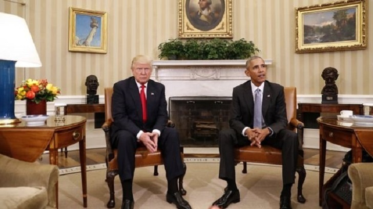Donald and Melania Trump meet Mr. and Mrs. Obama in the White House.