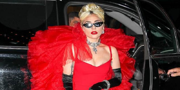 Lady Gaga Wears THREE Outfits in a Day and Shows off Decent Cleavage in the Red Dress