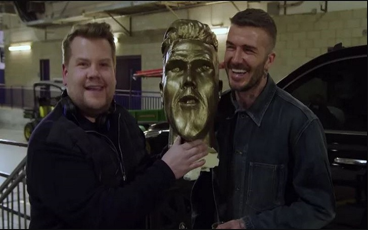 James Corden Pranks David Beckham with a Long-Chinned Replica of Himself