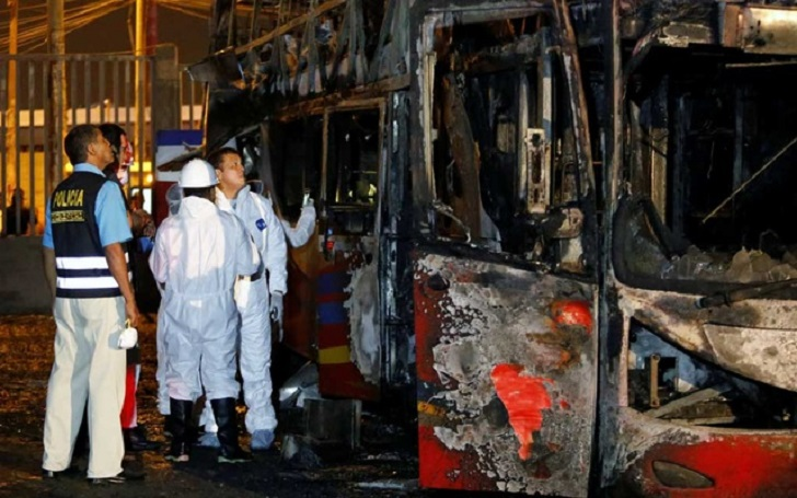 At Least 20 Killed After a Bus Burst Into Fire in Lima, Peru