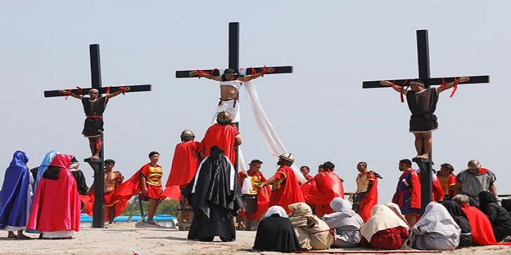 Devout Christians Getting Nailed to the Cross on Good Friday
