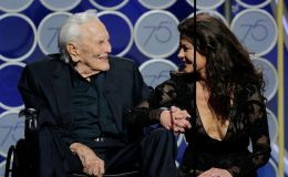 Kirk Douglas and Daughter-In-Law Catherine Zeta-Jones Appear Together On Golden Globes Stage