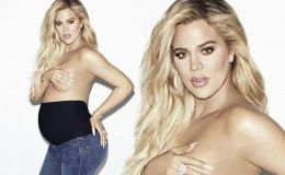 She Went Naked: Eight-Month Pregnant Khloe Kardashian Poses Topless for Good American Maternity Line