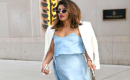 Priyanka Chopra Shows Cleavage In Blue Satin Dress, Joining Boyfriend Nick Jonas in NYC
