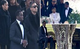 Kim Porter Funeral: Sean 'Diddy' Combs Sits by Ex-Girlfriend's Gravesite at Cemetery